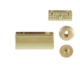 Наконечник на молнию PE 127 светлое золото полир+кнопка (7652)